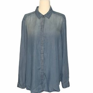 Jane and Delancey Ombré Chambray Shirt Size XL